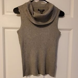 Knit Ribbed Cowl Neck Sleveless Top